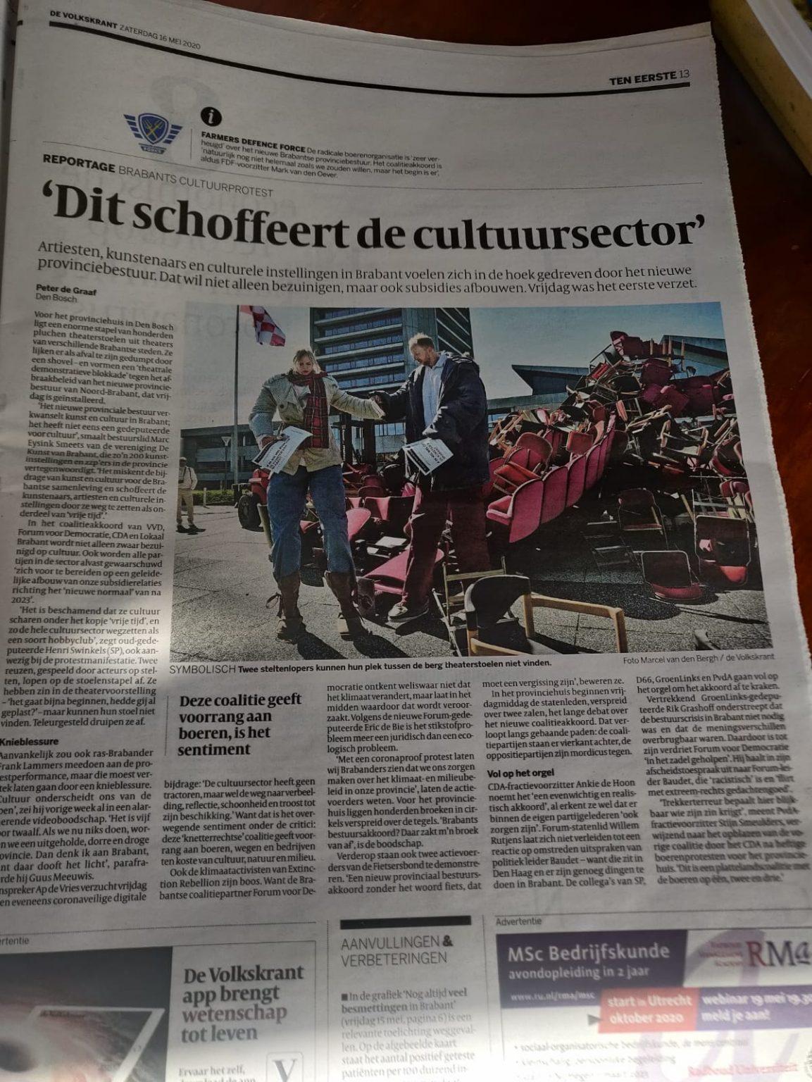 Theater Artemis - Artikel De Volkskrant, 16 mei 2020