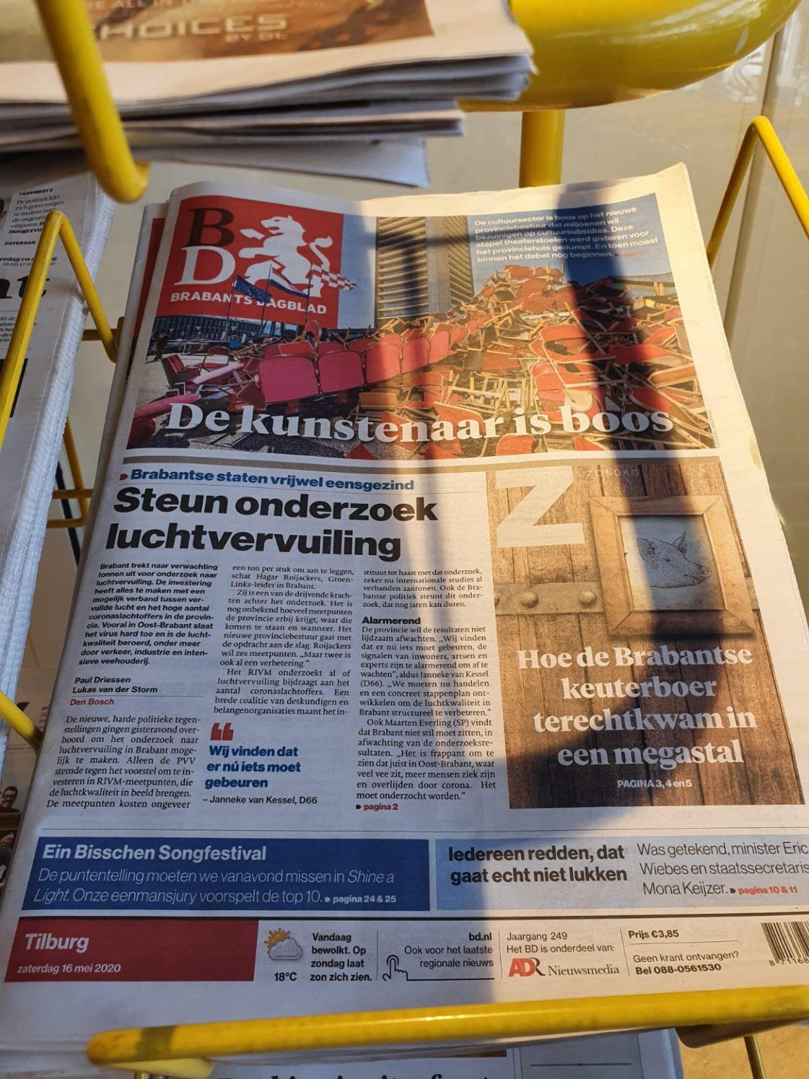 Theater Artemis - Voorpagina Brabants dagblad, 16 mei 2020
